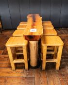 """STANDING BAR WITH EIGHT STOOLS - BAR L 81"""" W 19"""" H 42"""""""