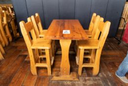 """PUB TABLE WITH FOUR CHAIRS TABLE L 48"""" W 29 1/2"""" H 41"""""""