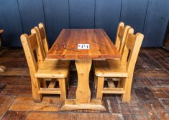 """DINING TABLE WITH FOUR CHAIRS - TABLE L 48"""" W 27 1/2"""" H 30"""""""