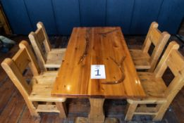 """DINING TABLE WITH FOUR CHAIRS TABLE L 48"""" W 27 1/2"""" H 30"""""""