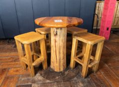 """ROUND PUB TABLE WITH FOUR STOOLS H-42"""" D-34"""""""