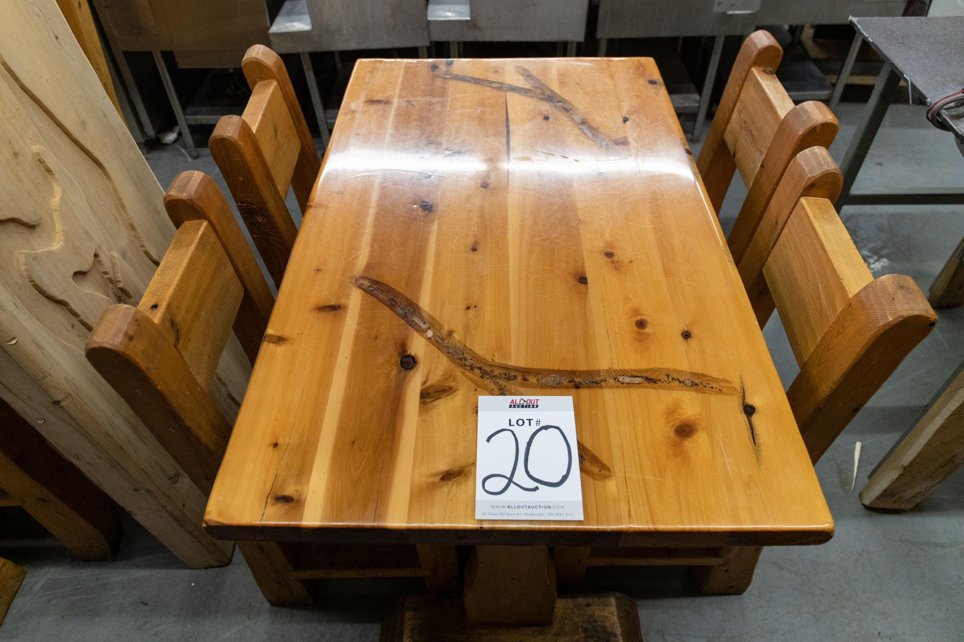 """4' WHITE PINE DINING TABLE WITH 4 CHAIRS L-48"""" W-28"""" H- 30"""""""