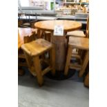 "ROUND WHIITE PINE HIGH TOP PUB TABLE WITH 4 STOOLS - D- 34"" H 42"""
