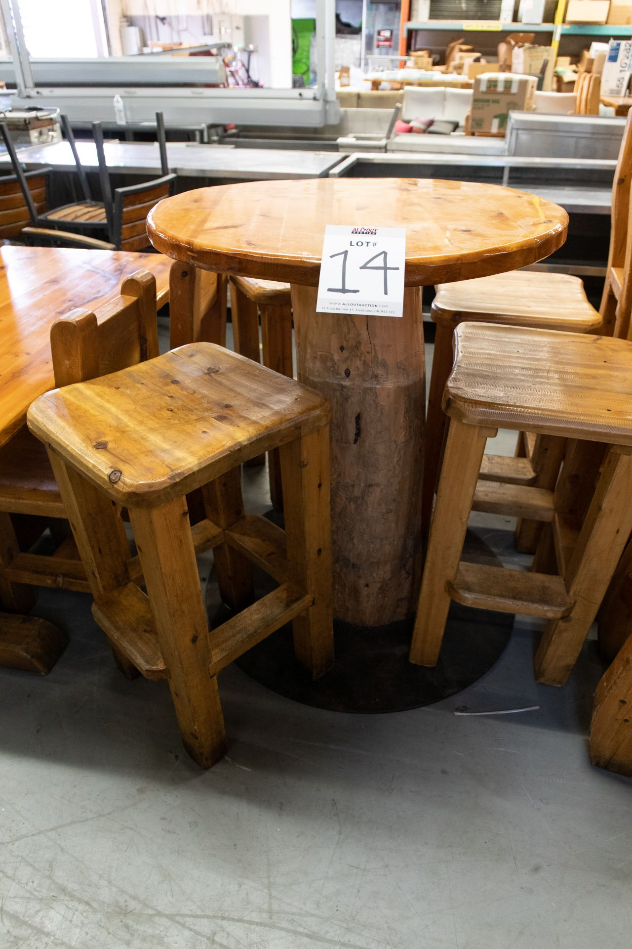 """ROUND WHIITE PINE HIGH TOP PUB TABLE WITH 4 STOOLS - D- 34"""" H 42"""""""