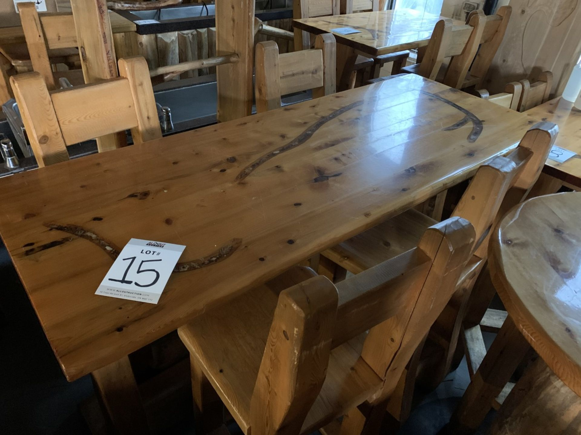 """6' WHITE PINE HIGH TOP BAR TABLE WITH 4 CHAIRS - L-72"""" W-28"""" H-42"""" - Image 3 of 4"""