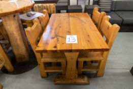 """4' WHITE PINE DINING TABE WITH 4 CHAIRS - L-48"""" W-287"""" H-30"""""""