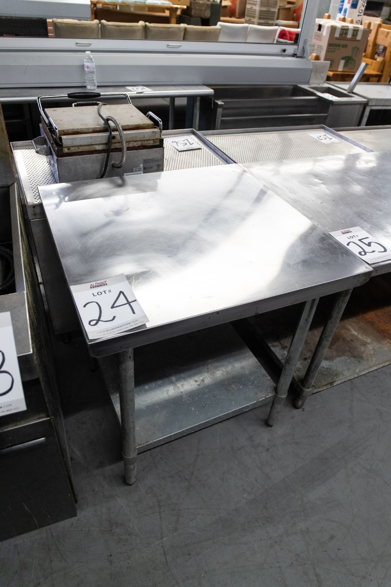 """PREP TABLE WITH S.S. TOP AND ONE SHELVE - H- 34"""" W- 30"""" BY 30"""""""