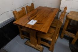 "4' WHITE PINE DINING TABLE WITH 4 CHAIRS - L 48"" W 28"" H 30"""