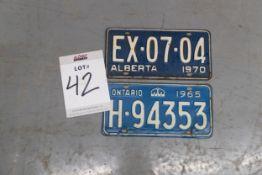 1 ALBERTA- 1 ONTARIO LICENSE PLATES