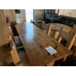 "6' WHITE PINE HIGH TOP BAR TABLE WITH 4 CHAIRS - L-72"" W-28"" H-42"""