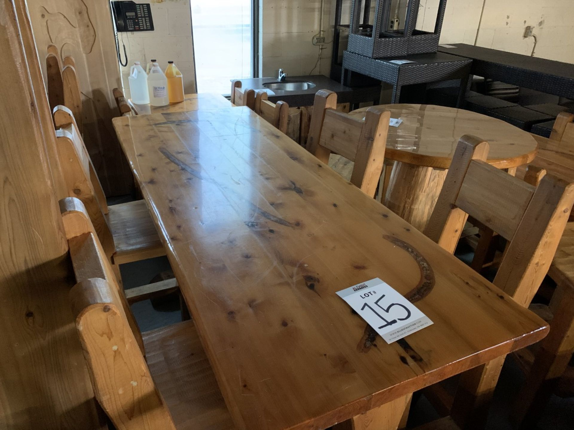 """6' WHITE PINE HIGH TOP BAR TABLE WITH 4 CHAIRS - L-72"""" W-28"""" H-42"""""""