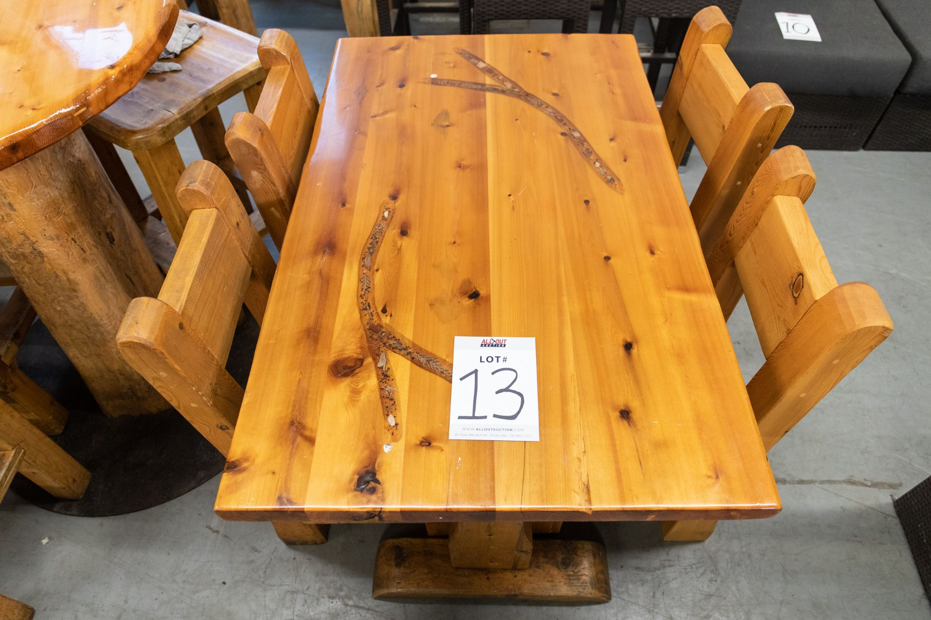 "4' WHITE PINE DINING TABE WITH 4 CHAIRS - L-48"" W-287"" H-30"" - Image 2 of 4"