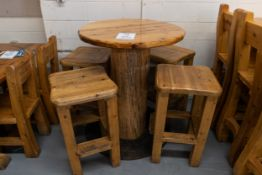 "ROUND WHIITE HIGH TOP PINE PUB TABLE WITH 4 STOOLS - D- 34"" H 42"""