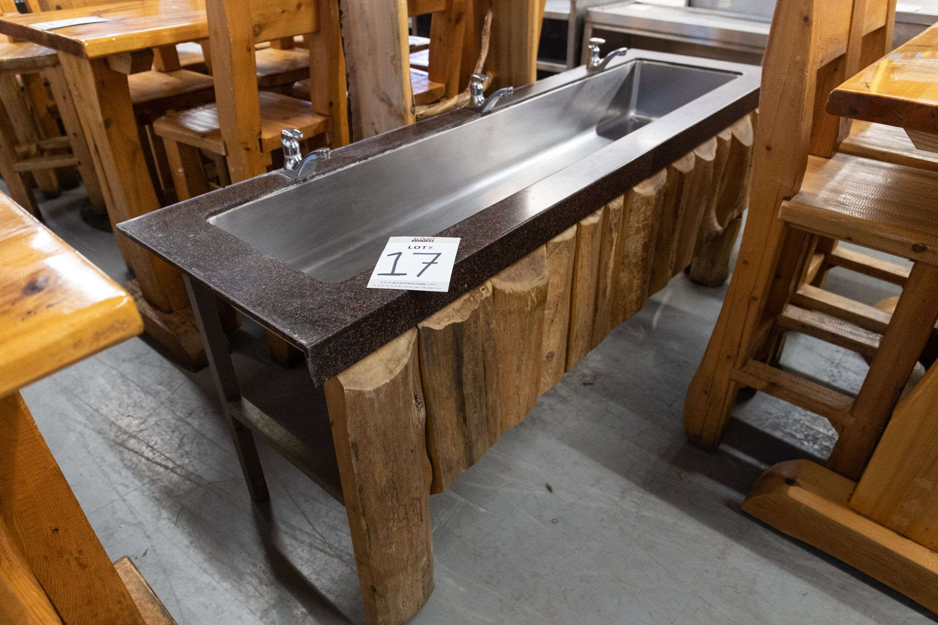 """3 FAUCET SINK UNIT WITH STEEL FRAME, CORIAN TOP AND WHITE PINE CLADDING H-32.5'' W-231/4"""" L- 80"""""""