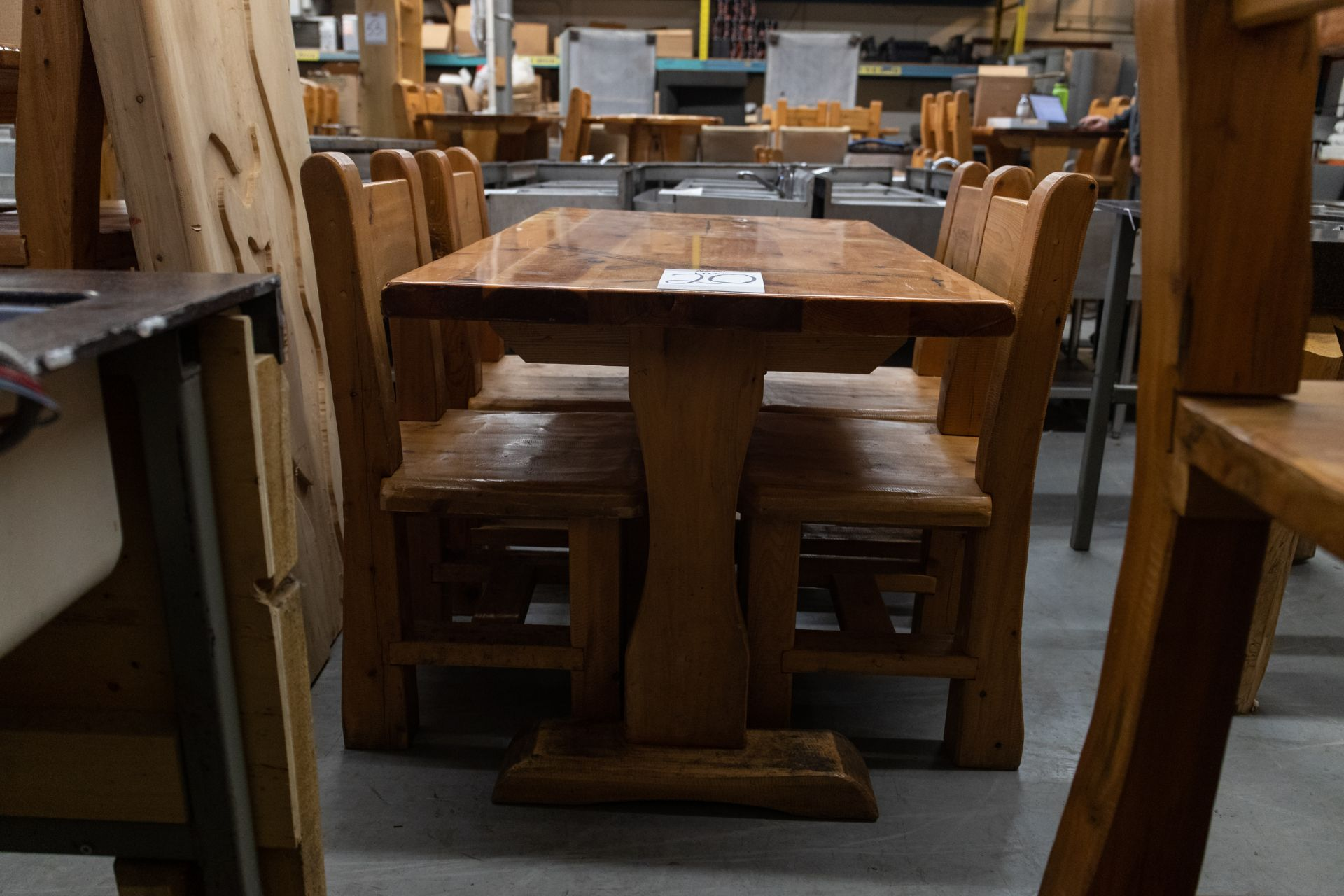 """4' WHITE PINE DINING TABLE WITH 4 CHAIRS L-48"""" W-28"""" H- 30"""" - Image 3 of 4"""