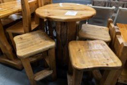 "ROUND WHIITE PINE HIGH TOP PUB TABLE (TOP IS CRACKED) WITH 4 STOOLS - D- 34"" H 42"""