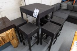 """OUTDOOR FAUX WICKER HIGH TOP TABLE WITH 4 STOOLS H-43"""" W- 29""""BY 29"""""""