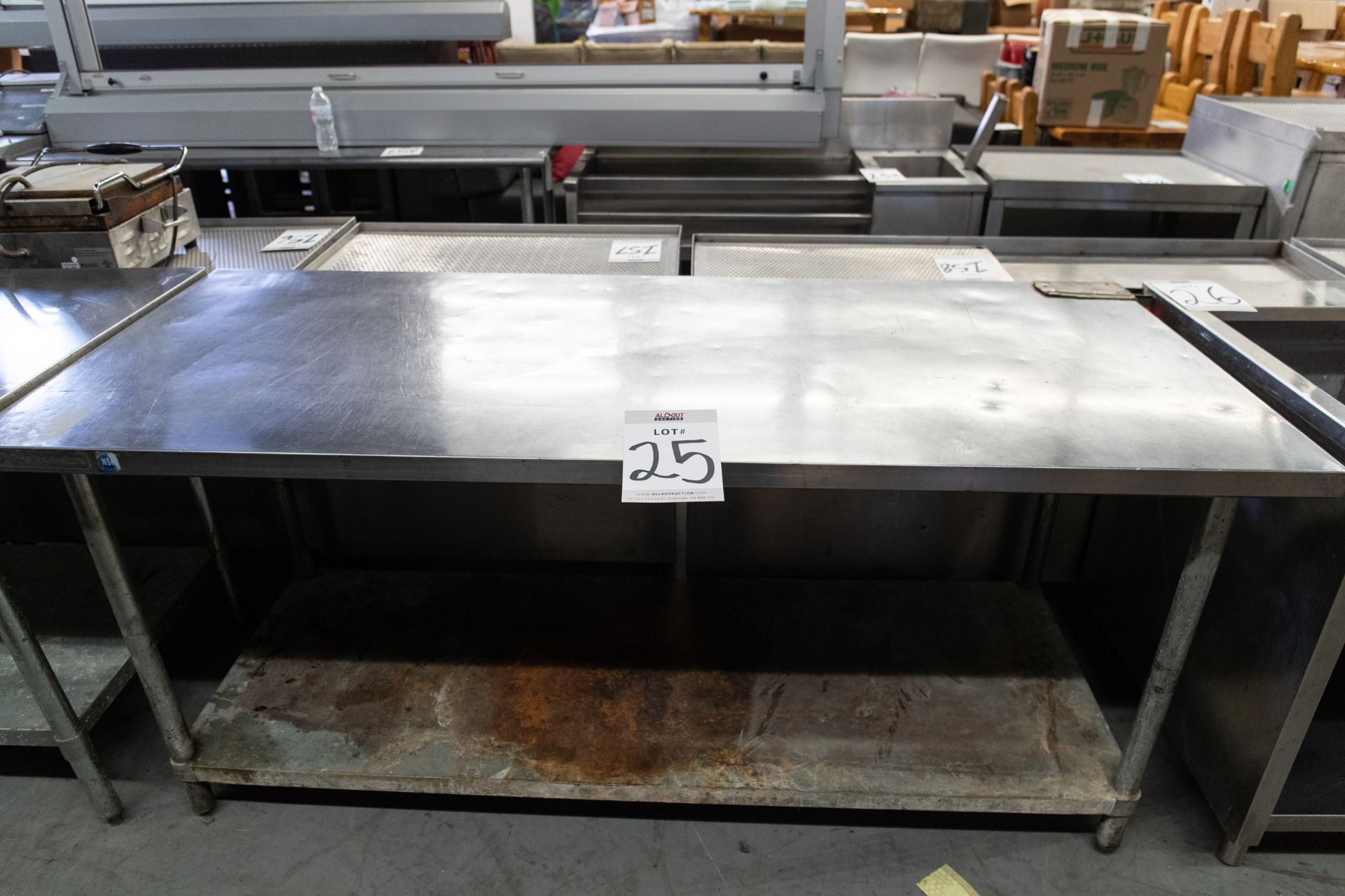 """PREP TABLE WITH S.S. TOP AND ONE SHELVE - H- 34"""" D- 30"""" L-72"""" - Image 2 of 4"""