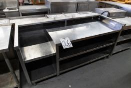 "S.S COUNTER WITH 2 SHELVES - H-34"" D- 30"" L- 68"""