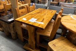 "4' WHITE PINE HIGH TOP BAR TABLE WITH 4 CHAIRS L- 48"" W-30"" H-41"""