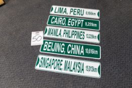 5 INTERNATIONAL CITY DESTINATION SIGNS