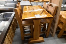 """4' WHITE PINE HIGHTOP BAR TABLE WITH 4 CHAIRS L- 48"""" W-30"""" H-41"""""""