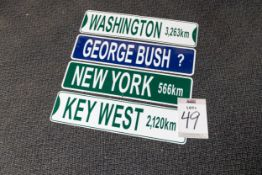 4 AMERICAN CITY DESTINATION SIGNS