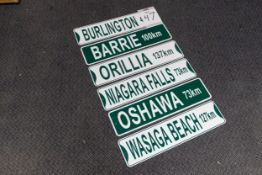 6 ONTARIO CITY DESTINATION SIGNS