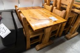 "4' WHITE PINE DINING TABLE WITH 4 CHAIRS L-48"" W-28"" H- 30"""