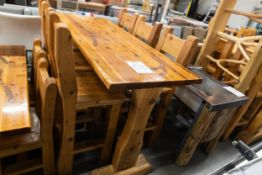 "6' WHITE PINE HIGH TOP BAR TABLE WITH 6 CHAIRS L-72'' W-28"" H-42''"