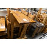 """6' WHITE PINE HIGH TOP BAR TABLE WITH 6 CHAIRS L-72'' W-28"""" H-42''"""