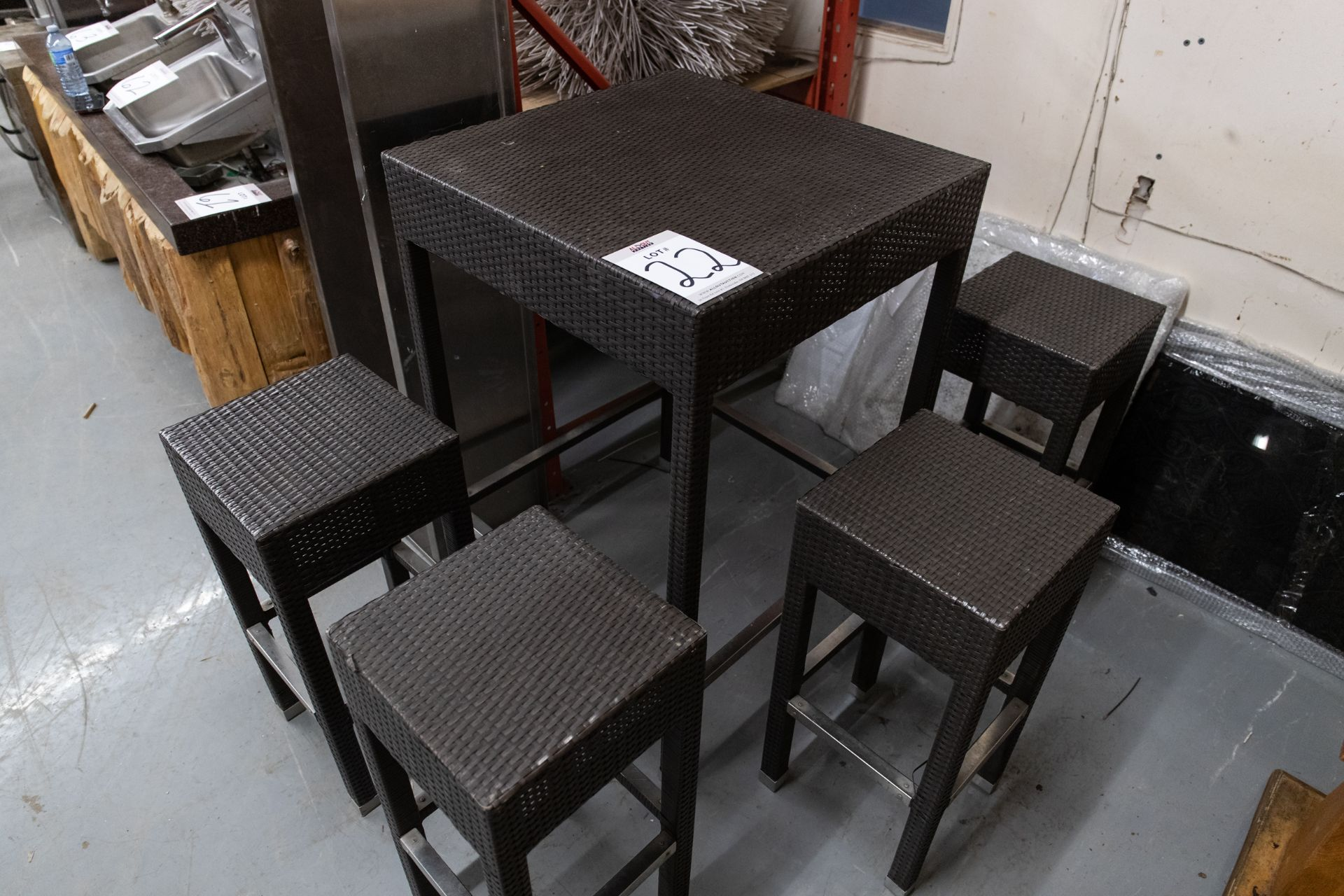 """OUTDOOR FAUX WICKER HIGHTOP TABLE WITH 4 STOOLS H- 43"""" W- 29"""" BY 29"""""""