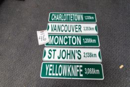5 CANADIAN CITY DESTINATION SIGNS