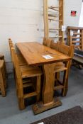 "6' WHITE PINE HIGH TOP BAR TABLE WITH 4 CHAIRS - L-72"" W -28'' H- 42"" -"