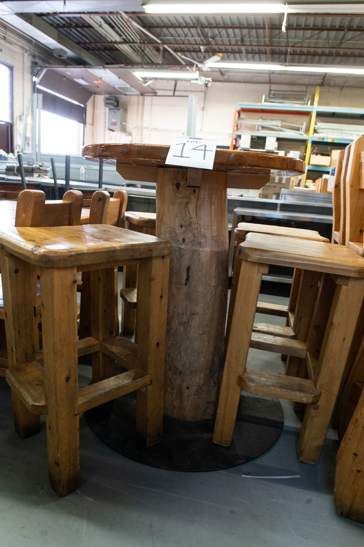 """ROUND WHIITE PINE HIGH TOP PUB TABLE WITH 4 STOOLS - D- 34"""" H 42"""" - Image 3 of 4"""