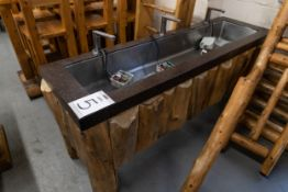 """3 FAUCET (TOUCHLESS) SINK UNIT WITH STEEL FRAME, CORIAN TOP AND WHITE PINE CLADDING H-32.5"""" W-23.1/"""
