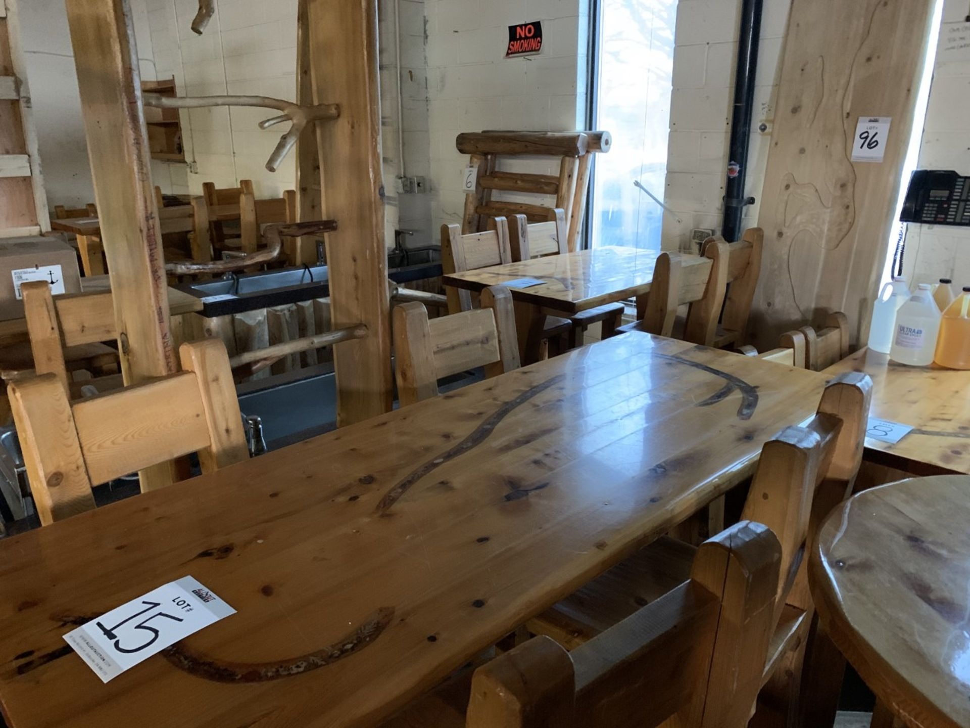 """6' WHITE PINE HIGH TOP BAR TABLE WITH 4 CHAIRS - L-72"""" W-28"""" H-42"""" - Image 4 of 4"""