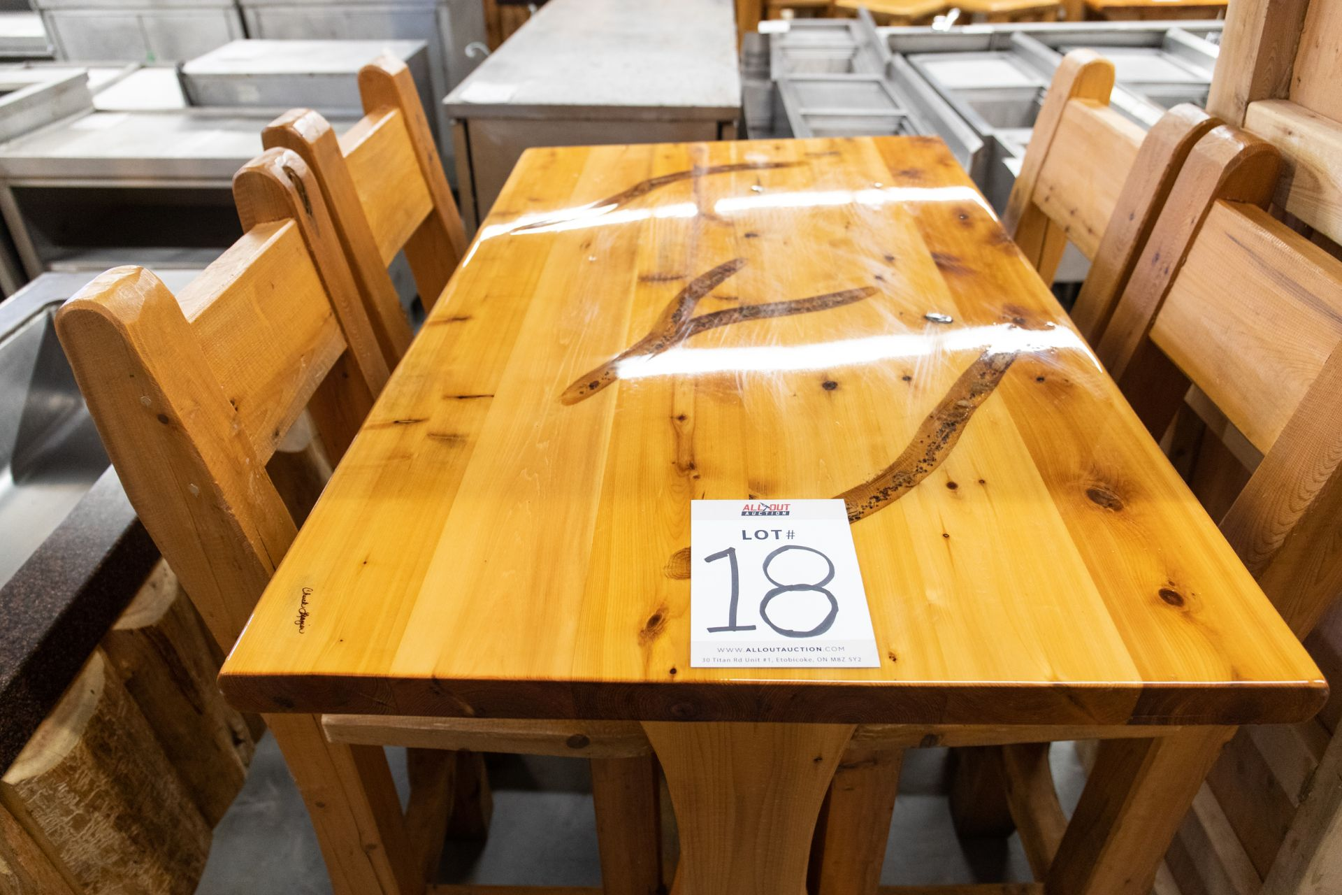 """4' WHITE PINE HIGHTOP BAR TABLE WITH 4 CHAIRS L- 48"""" W-30"""" H-41"""" - Image 2 of 3"""