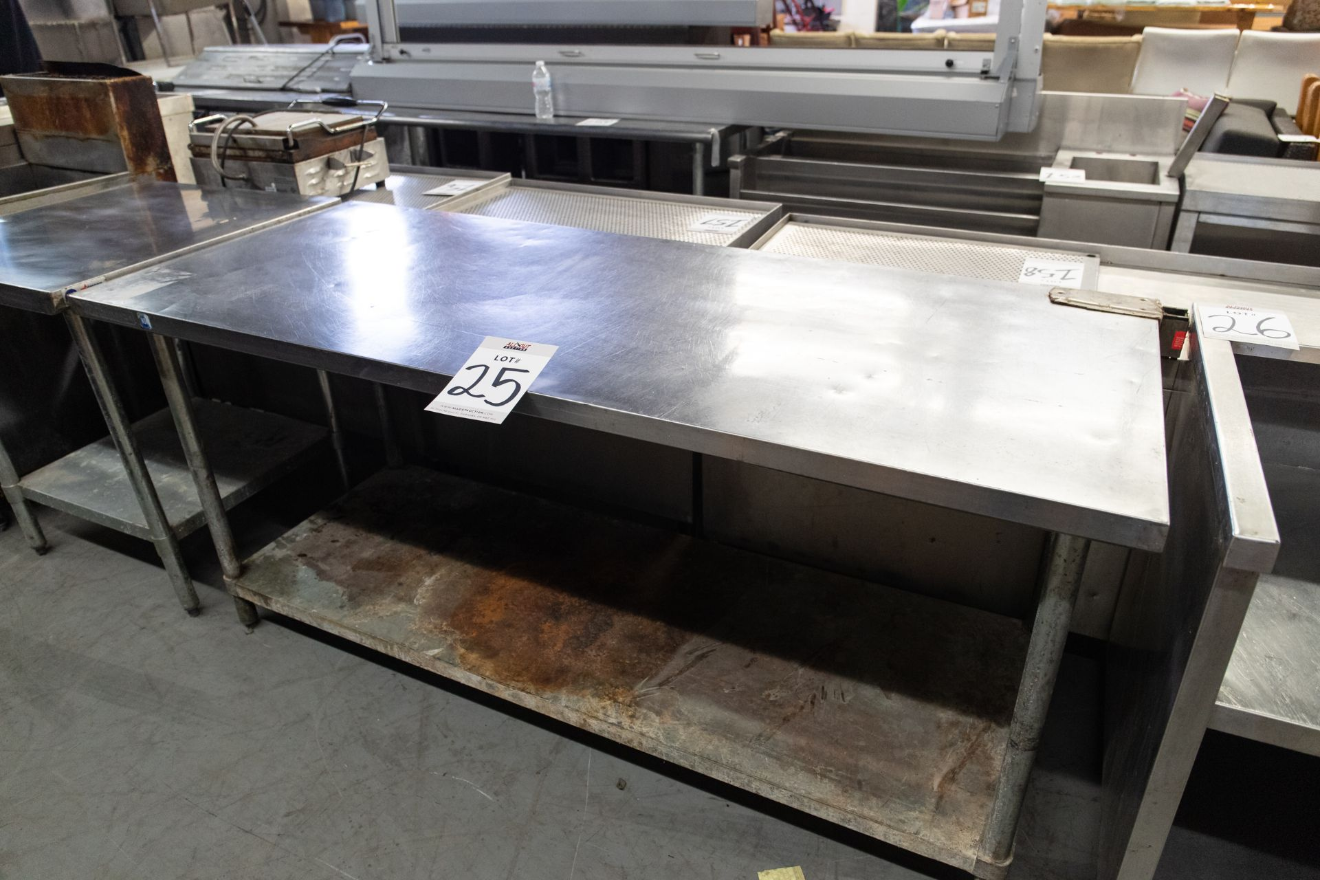 """PREP TABLE WITH S.S. TOP AND ONE SHELVE - H- 34"""" D- 30"""" L-72"""""""