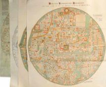 "Landkarten, 4 Stück ""Ebstorfer Weltkarte""<"