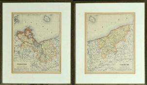 """Landkarten, 2 Stück """"Vor- und Hinter-Pommern"""""""