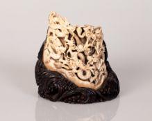 Old bone Carving Dragons Eyes Set w/ Gemstones
