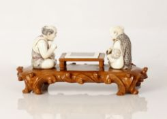 Old Group Sculpture, Bone and Wood - Men Playing