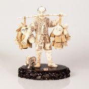 Old Japanese Bone Carving, Merchant Figure