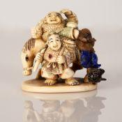 Japanese Okimono, Bone and Gemstones - Meiji Dynasty