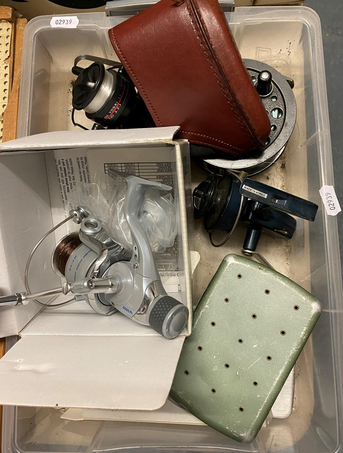 Lot 415 - Box containing fly boxes reels and other misc