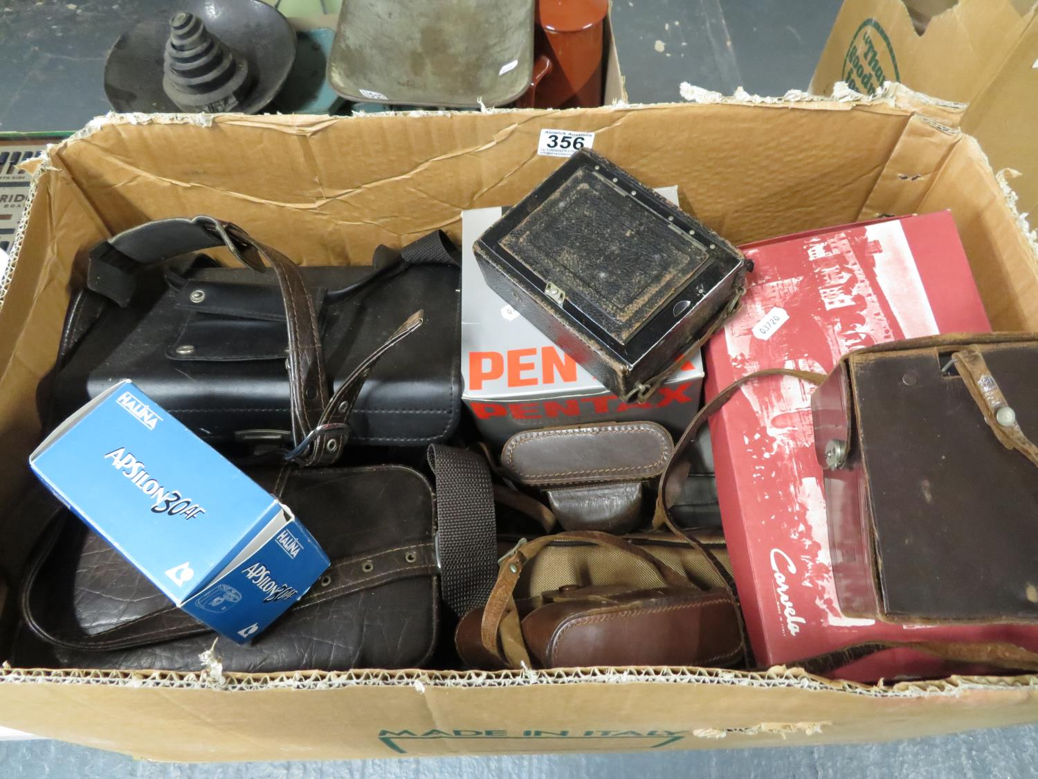 Lot 356 - Collection of cameras 35mm and earlier inc. Brilliant Voigtlander, Pentax, Chinon and Agfa