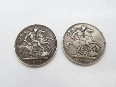 2x Victorian silver Crowns 1892 and 1894