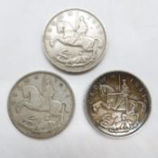 3x silver Crowns, Rocking Horse George V all 1935
