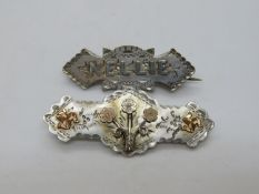2x silver and gold Mizpah brooches